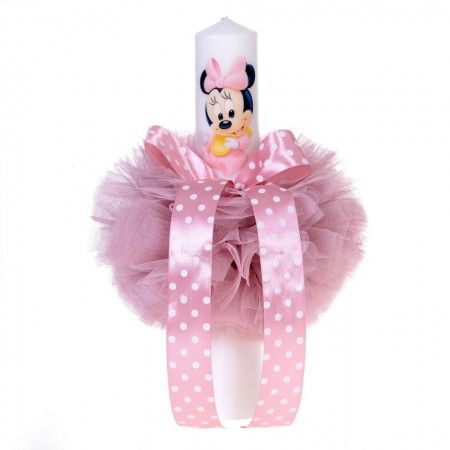 Lumanare botez baby girl, glob tul roz pudra si fundita cu buline, Denikos® 83