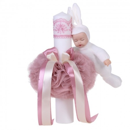 Lumanare botez jucarie iepuras, decor roz pudra, Denikos® 63