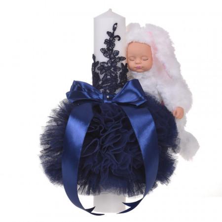 Lumanare botez jucarie iepuras pufos si dantela, decor bleumarin, Denikos® 716
