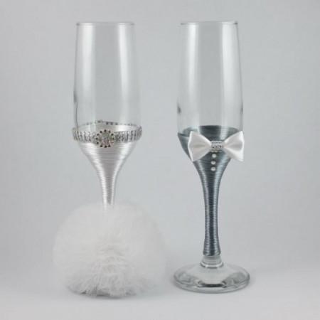 Pahare nunta decorate alb si gri PN003