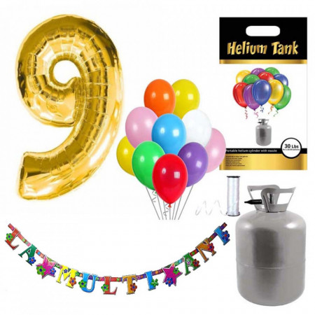 Set party butelie heliu, balon cifra 9 folie, banner si 10 baloane latex