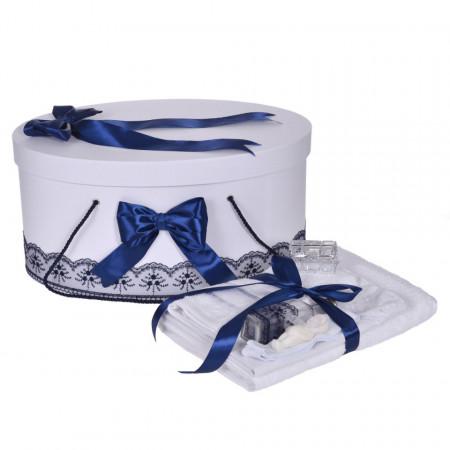 Set trusou botez si cutie trusou, dantela si fundite, decor Bleumarin, Denikos® 841