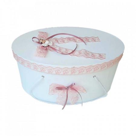Set trusou botez si cutie trusou, Ingeras, dantela roz prafuit, Denikos® 453