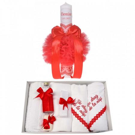 Trusou botez cu mesaj si lumanare botez personalizata, decor rosu, Denikos® 789