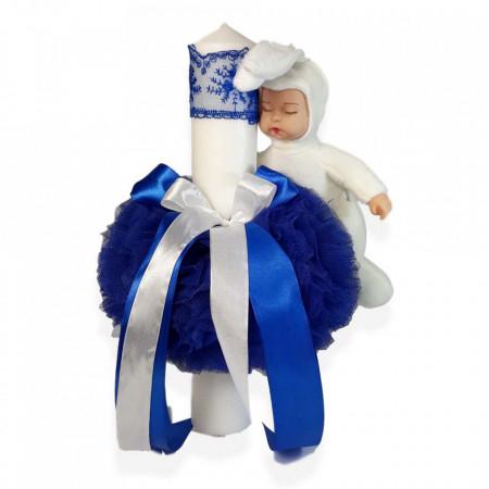 Trusou botez cu mesaj si lumanare cu iepuras, decor albastru, Denikos® 542