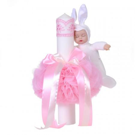 Trusou botez in landou fundita cu buline si lumanare cu iepuras, decor roz Denikos® 109