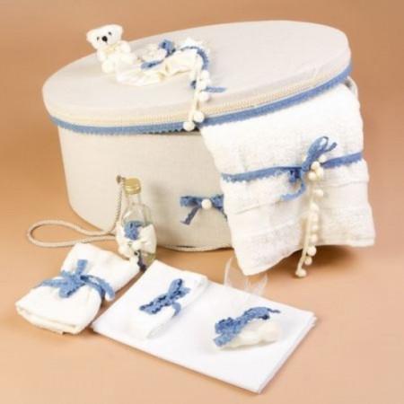 Trusou botez si cutie decorata cu fundite si dantela bleu LG101