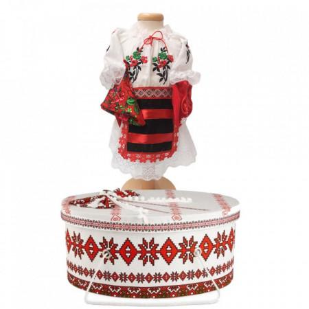 Costum national botez fetita si cutie trusou asortata, Denikos® 1004