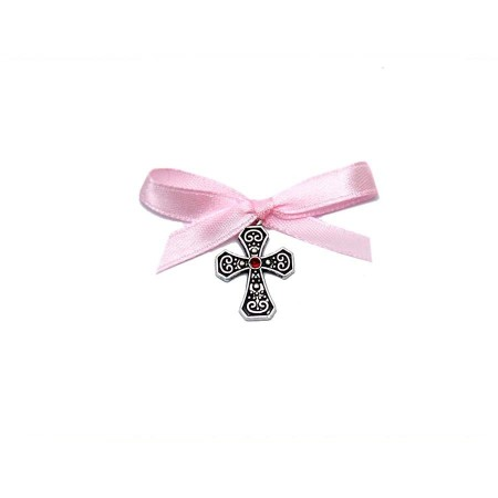 Cruciulite botez stras central, fundita roz Denikos® 93
