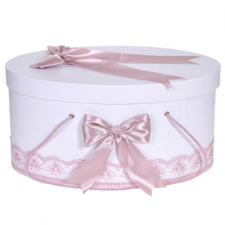 Cutie trusou botez dantela roz pudra si fundite asortate, Denikos® 812