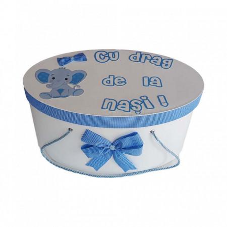 Cutie trusou botez personalizata, decor carouri si elefantel, Denikos® 223