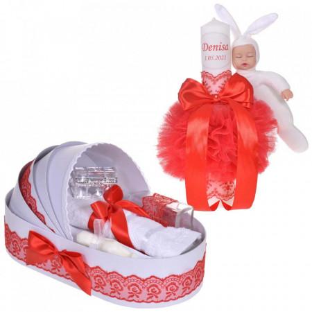 Lumanare botez cu iepuras, personalizata si trusou botez in landou, decor dantela Rosie, Denikos® 874