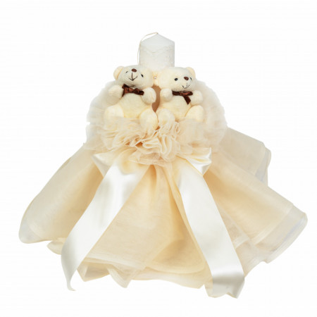Lumanare botez cu tul, decor ivoire si ursuleti, Denikos® 537