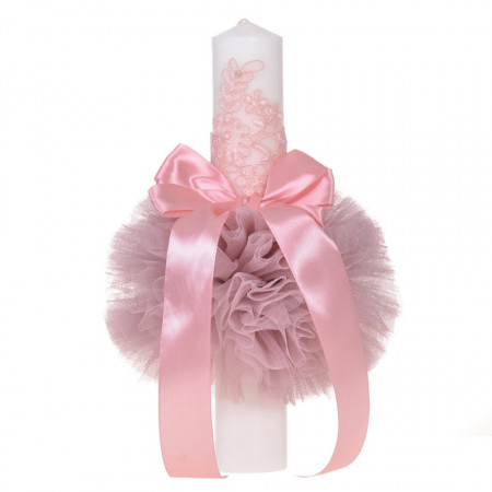 Lumanare botez eleganta cu tul, dantela si fundita, decor roz pudra, Denikos® 707