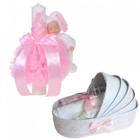Lumanare botez glob iepuras pufos si trusou botez in landou, decor Roz, Denikos® 770