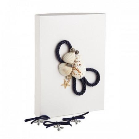 Set 50 cruciulite botez cu snur si cutie cadou decor bleumarin tema marina CC-016