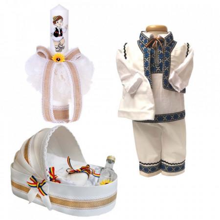 Set botez traditional baietel, trusou botez landou, lumanare si costum national baiat, Denikos® 962