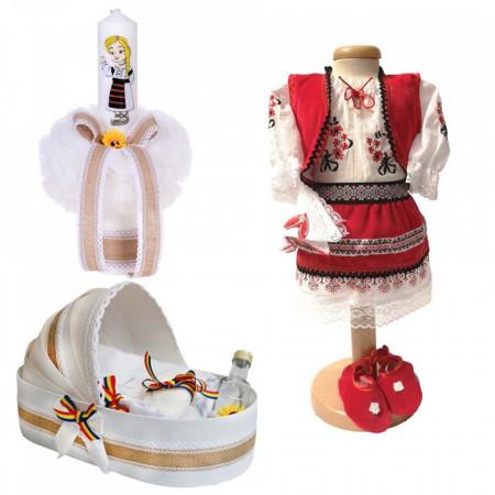 Set botez traditional fetita, trusou botez landou, lumanare si costum traditional, Denikos® 980
