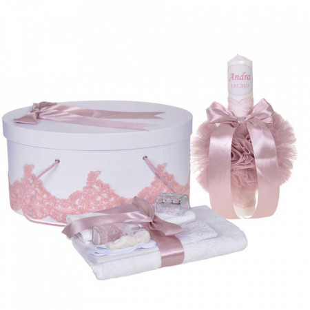 Set elegant trusou botez, cutie trusou si lumanare personalizata cu nume, decor dantela Roz pudra, Denikos® 938