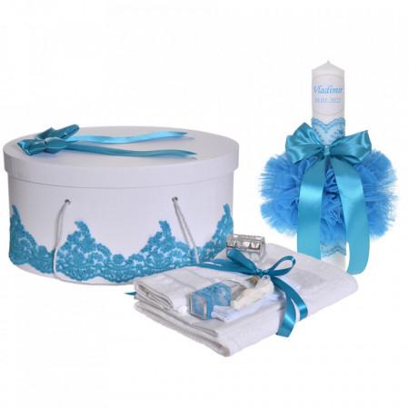 Set elegant trusou botez, cutie trusou si lumanare personalizata cu nume, decor dantela Turcoaz, Denikos® 942