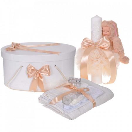Set trusou botez, cutie trusou si lumanare iepuras pufos, dantela si fundite, decor Crem, Denikos® 896