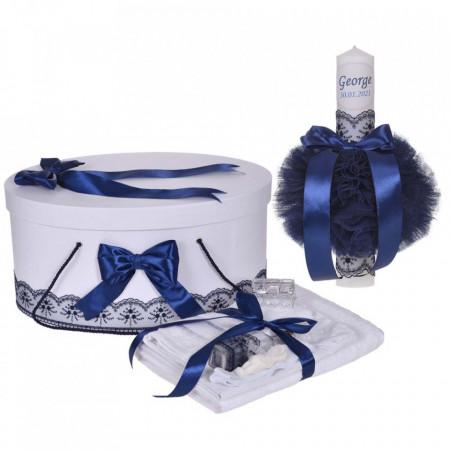 Set trusou botez, cutie trusou si lumanare personalizata cu nume, decor Bleumarin, Denikos® 900