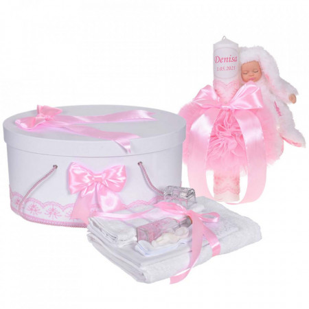 Set trusou botez, cutie trusou si lumanare personalizata cu nume, decor Roz cu iepuras, Denikos® 908