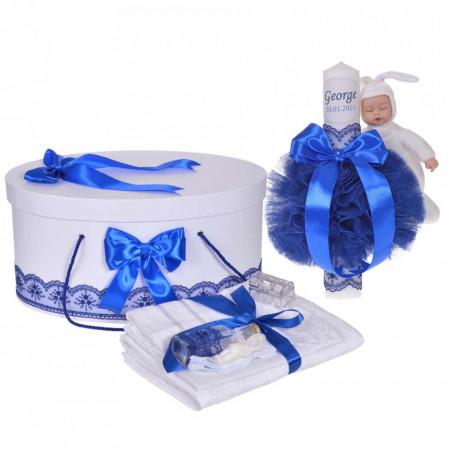 Set trusou botez, cutie trusou si lumanare personalizata cu nume, decor Albastru cu iepuras, Denikos® 912