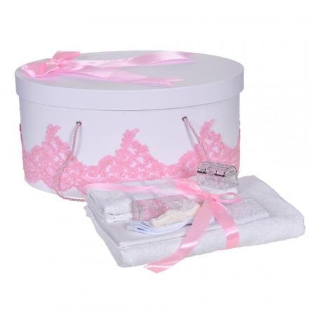 Set trusou botez si cutie trusou, dantela si fundita, decor elegant Roz, Denikos® 852