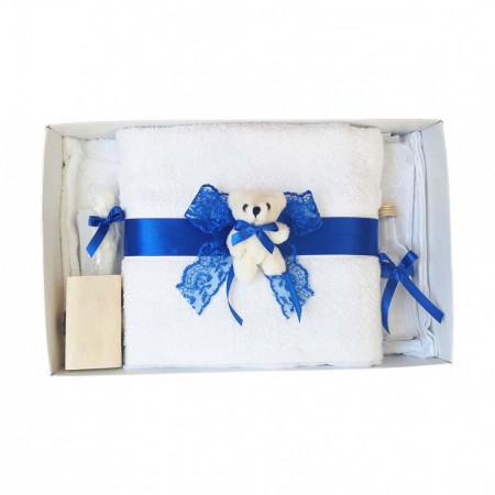 Set trusou botez si cutie trusou, Ursulet, dantela albastra, Denikos® 456