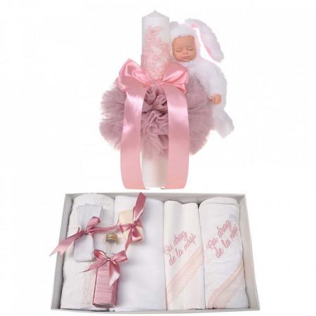 Trusou botez cu mesaj si lumanare eleganta glob cu dantela si iepuras pufos, decor roz pudra, Denikos® 760