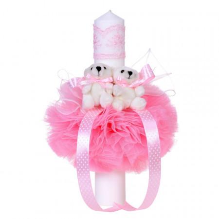 Trusou botez in landou cu floricele si lumanare cu ursuleti, decor roz Denikos® 102
