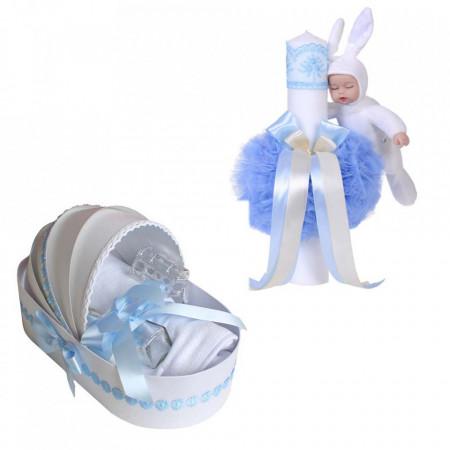 Trusou botez in landou si lumanare cu iepuras, decor bleu Denikos® 106