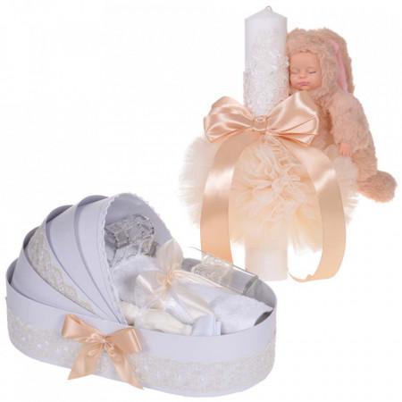 Lumanare botez cu iepuras pufos si trusou botez in landou, decor dantela Crem, Denikos® 860