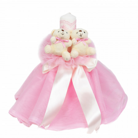 Lumanare botez cu tul, decor roz si ursuleti, Denikos® 538