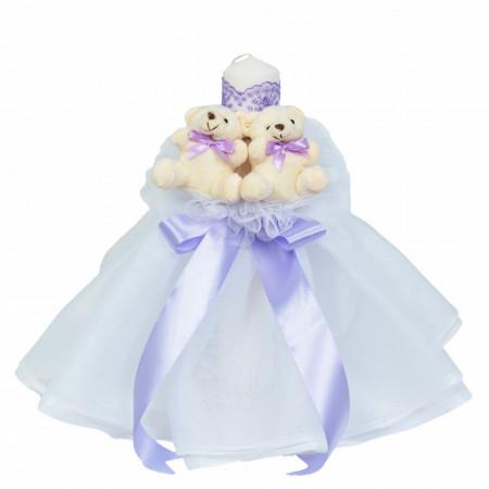 Lumanare botez rochita, cu ursuleti si trusou botez in landou, decor lila, Denikos® 597
