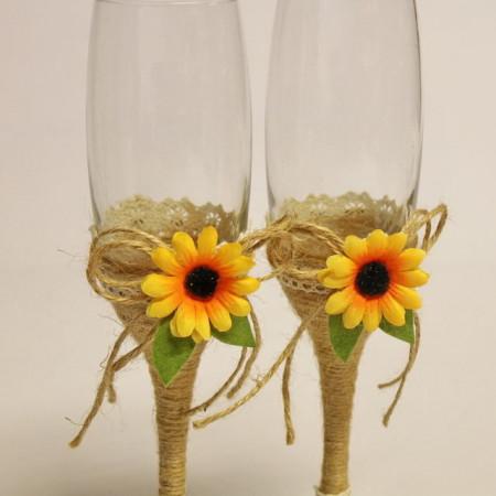 Pahare nunta miri rustice cu iuta si floarea soarelui P30F