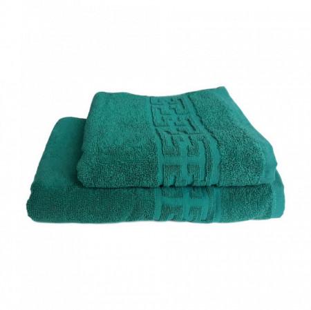 Set 2 prosoape groase si pufoase, bumbac, model grecesc, Verde, Denikos® 286