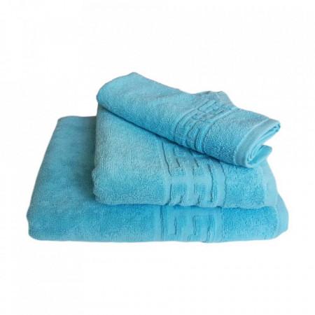 Set 3 prosoape groase si pufoase, bumbac, model grecesc, Bleu, Denikos® 247