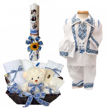 Set botez traditional baietel, trusou botez, lumanare si costum popular baiat, Denikos® 740