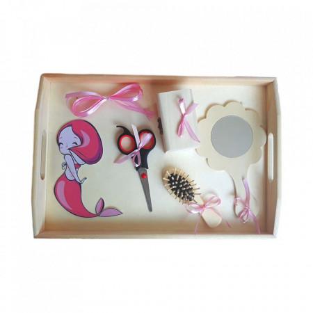 Set tavita mot simpla, fetita 1 an, fundite roz, decor sirena, Denikos® 202
