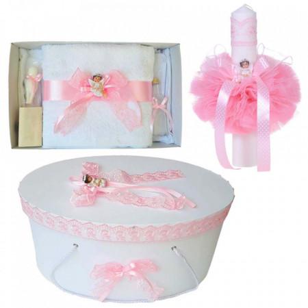 Set trusou botez, cutie trusou si lumanare, Ingeras, dantela roz, Denikos® 474
