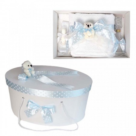 Set trusou botez si cutie trusou, Ursulet, fundita bleu cu buline, Denikos® 24