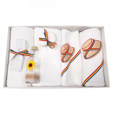 Trusou botez brodat si lumanare pentru baietel, decor traditional, Denikos® 120