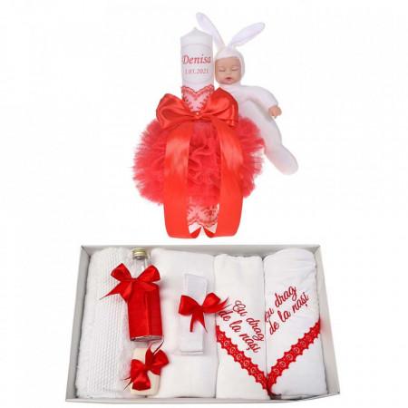 Trusou botez cu mesaj si lumanare botez personalizata, decor rosu cu iepuras, Denikos® 790