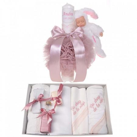 Trusou botez cu mesaj si lumanare botez personalizata, decor roz pudra cu iepuras, Denikos® 793