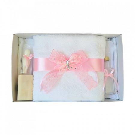 Trusou botez dantela roz si fluturas Denikos® 421