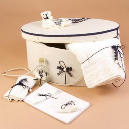 Poze Trusou botez si cutie decorata cu fundite si dantela bleumarin LG102