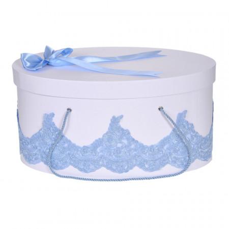Cutie trusou botez dantela bleu eleganta si o fundita asortata, Denikos® 824
