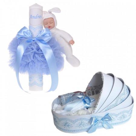 Lumanare botez cu iepuras, personalizata si trusou botez in landou, decor Bleu, Denikos® 804